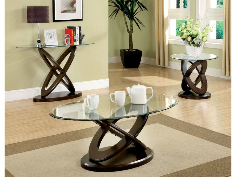 Furniture of america living room round glass top end table - Round glass tables for living room ...