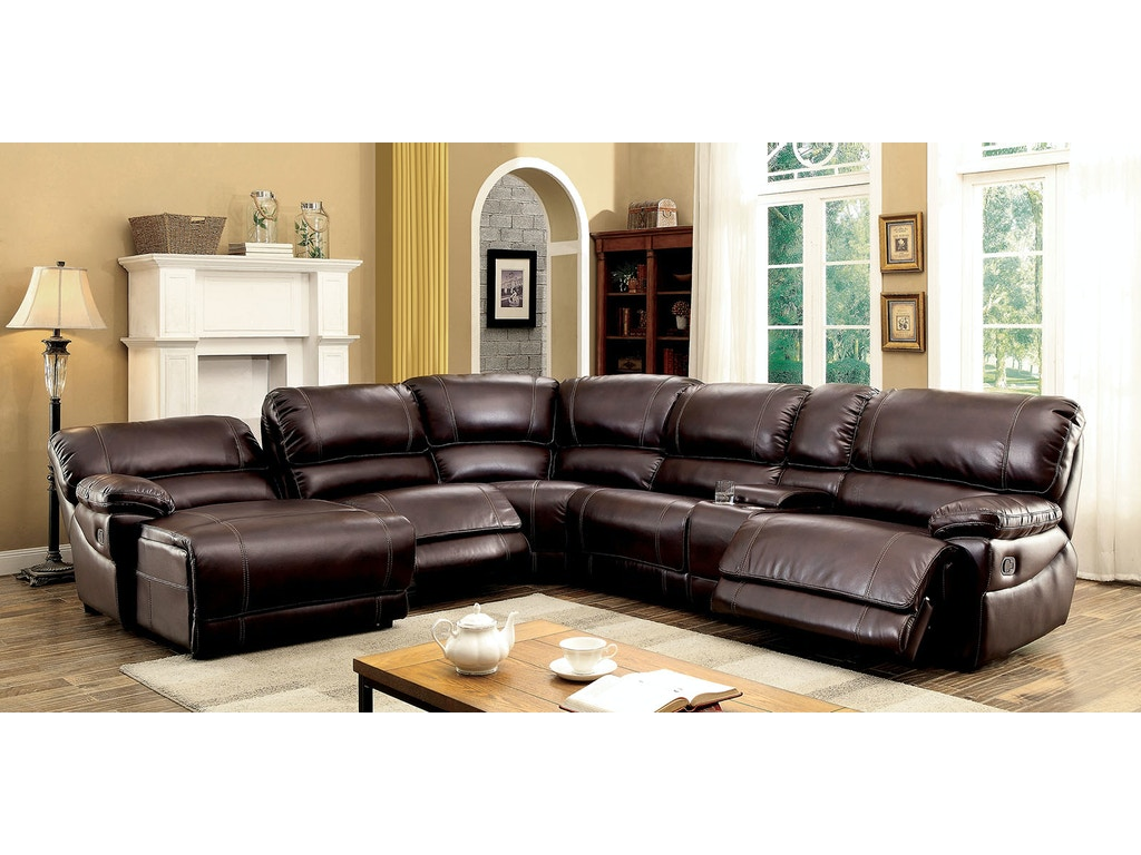 Furniture of america living room sectional brown cm6131br for Sectional sofas duluth mn
