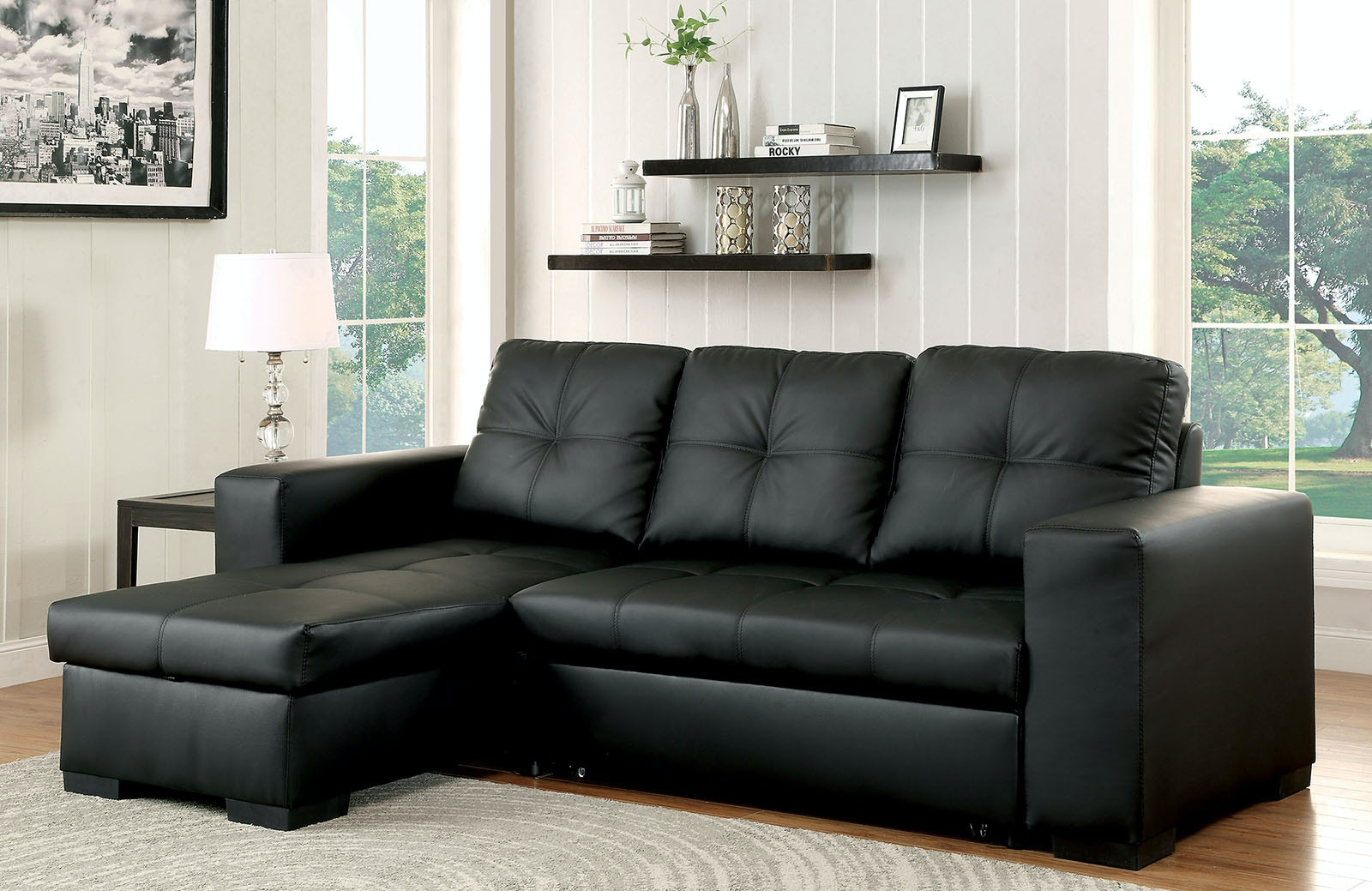 Furniture Of America Living Room Sectional Black Bonded Leather