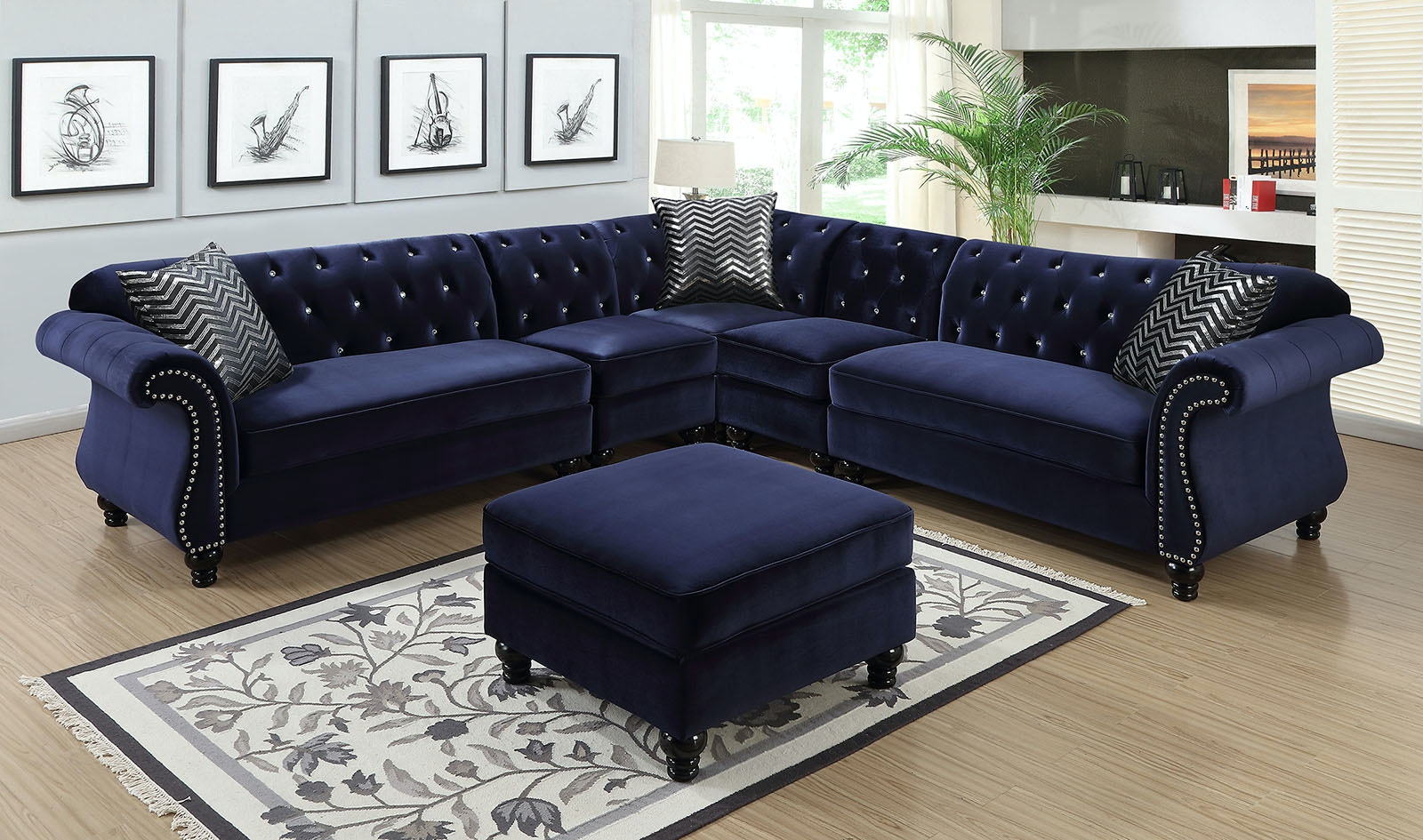 Furniture Of America Living Room Sectional Blue Cm6158bl Set The