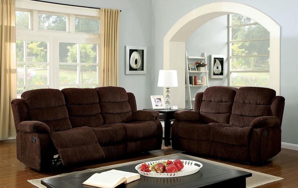 Motion Sofa w/ Dark Brown Chenille