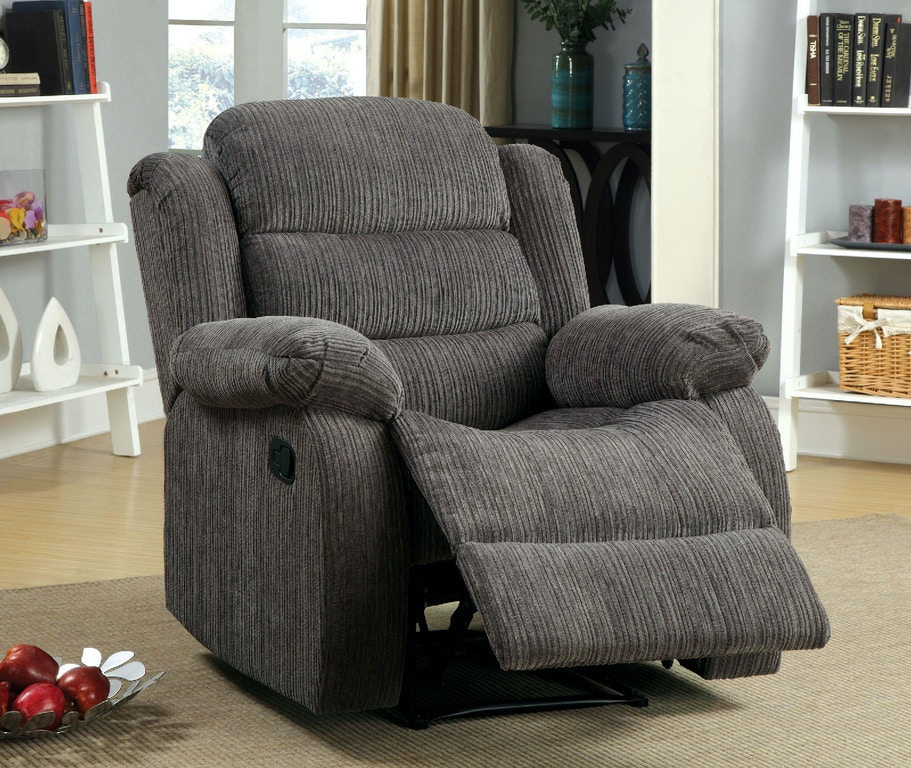 Furniture of America Living Room Recliner w/ Gray Chenille CM6173GY ...