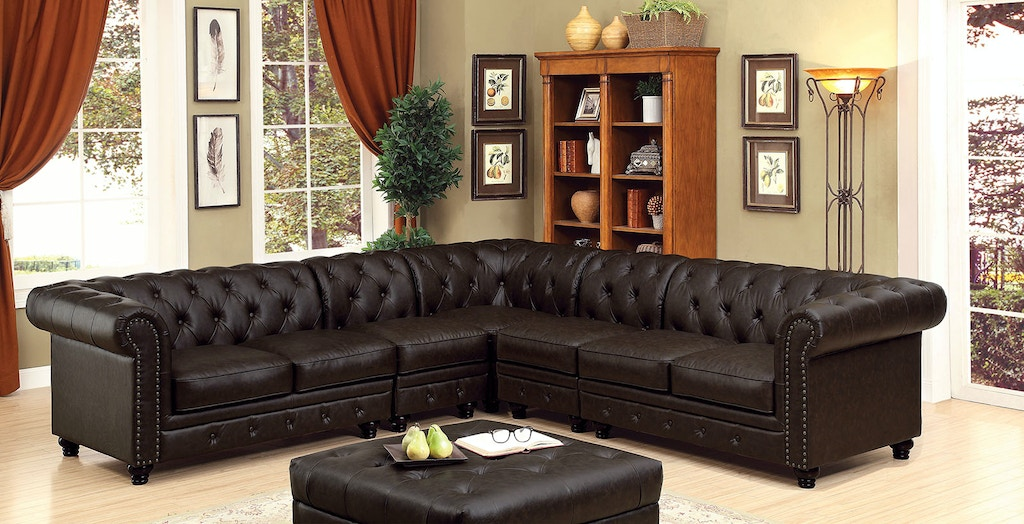 Sectional, Brown Leatherette