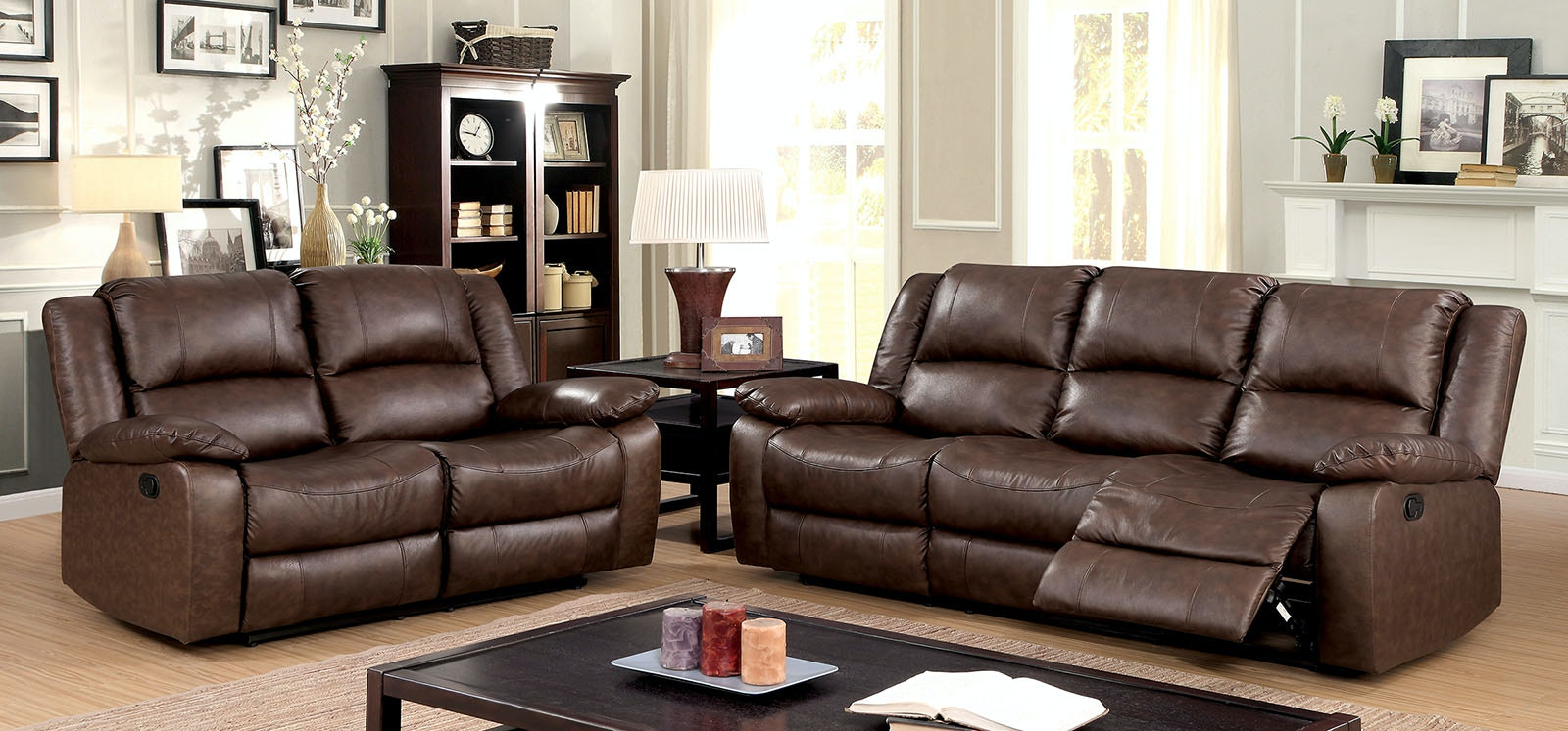 Furniture Of America Sofa W/ 2 Recliners CM6293 SF
