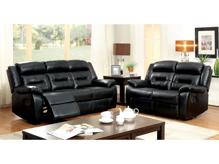 Furniture of America Living Room Motion Sofa w/ Black Bonded Leather ...