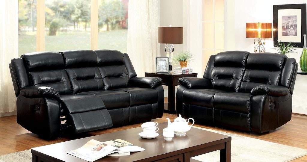Motion Sofa w/ Black Bonded Leather Match