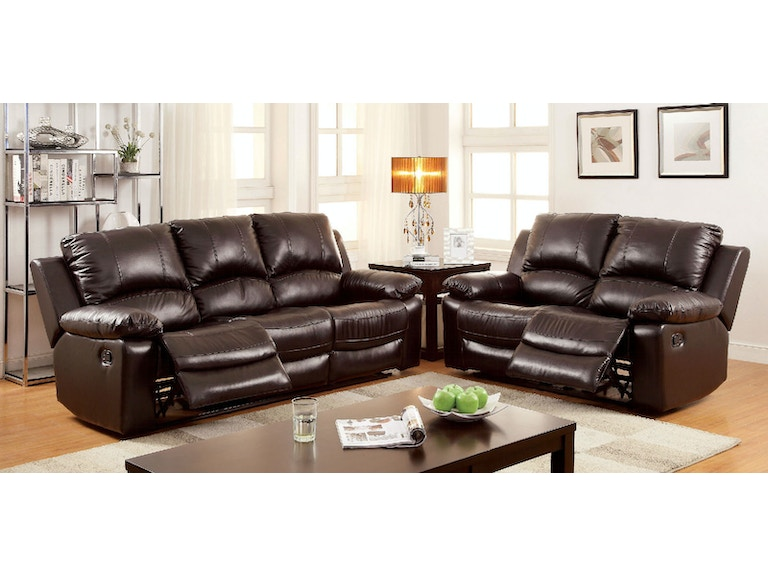 Furniture of America Living Room Motion Sofa w/ Top Grain Leather ...