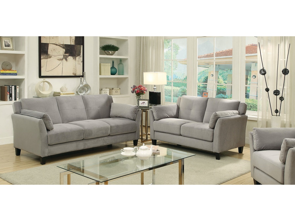 Furniture Of America Living Room Sofa Love Seat Chair Warm Gray Cm6716gy 3pc The