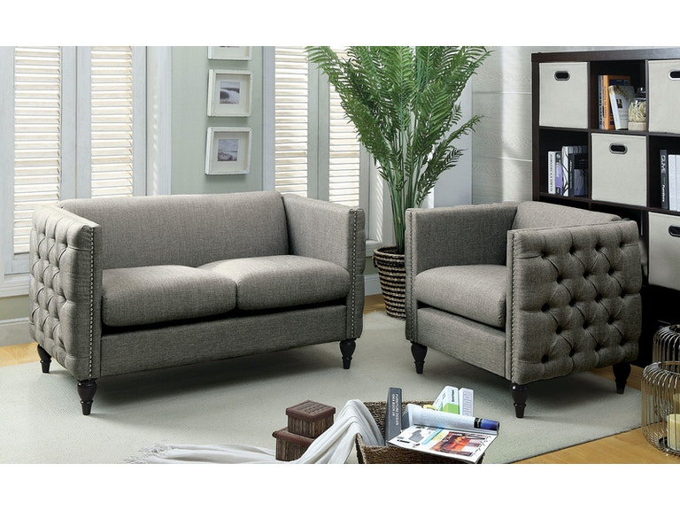 Furniture of America Living Room Love Seat, Gray CM6780GY-LV-SET ...