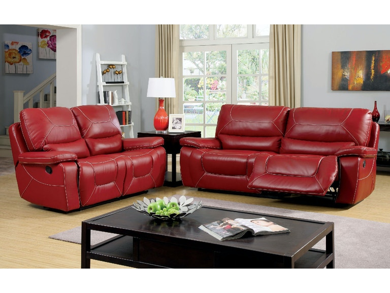 Furniture Of America Two Recliner Sofa Red Cm6814rd Sf
