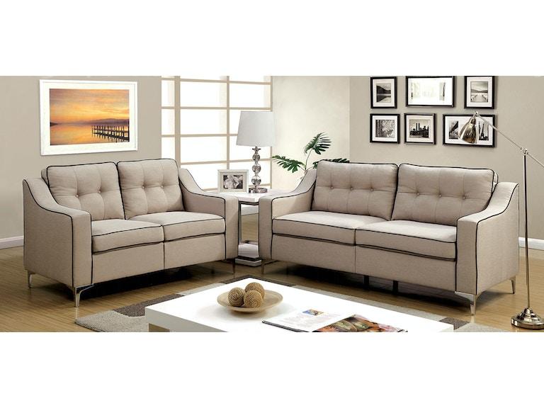 Furniture Of America Sofa Love Seat Cm6850bg 2pc