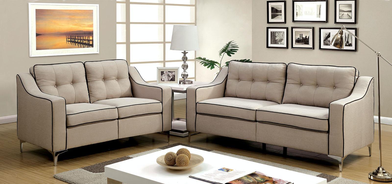 Furniture Of America Sofa + Love Seat CM6850BG 2PC