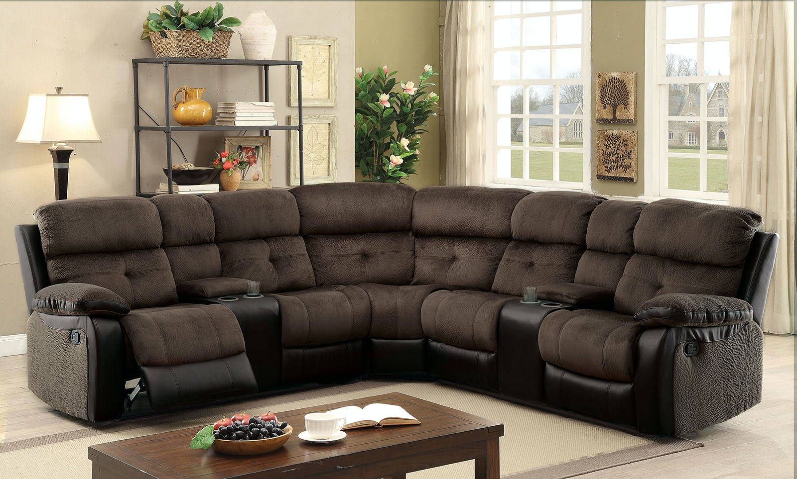 Furniture Of America Sectional W/ 2 Consoles CM6871 SECTIONAL