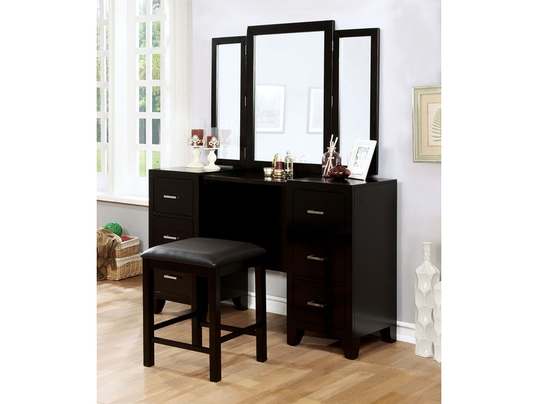 Furniture of America Bedroom Vanity w/ Stool, Espresso CM7088V-PK ...