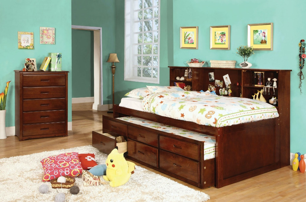 Twin Bed + Trundle + 3 Drawers