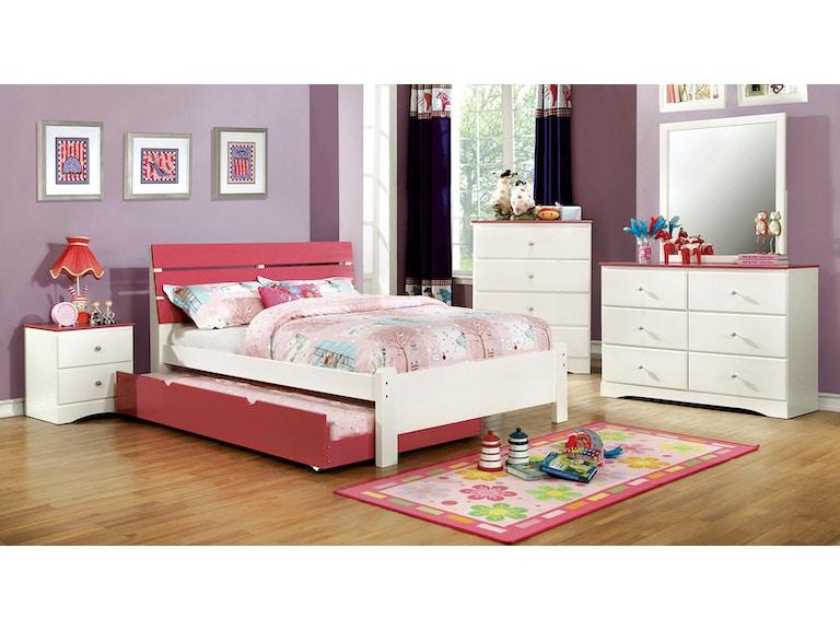 Twin Bed + 1ns + Dresser + Mirror, Pink & White