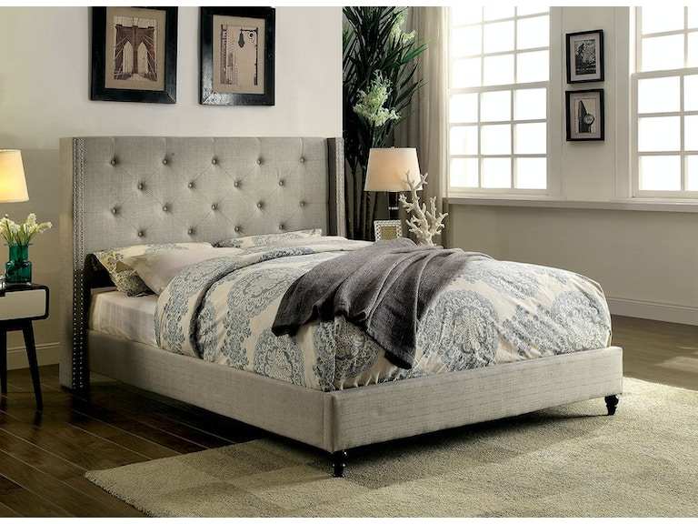 Furniture Of America Bedroom Cal King Bed Warm Gray Cm7677gy Ck Bed The Furniture Mall Duluth