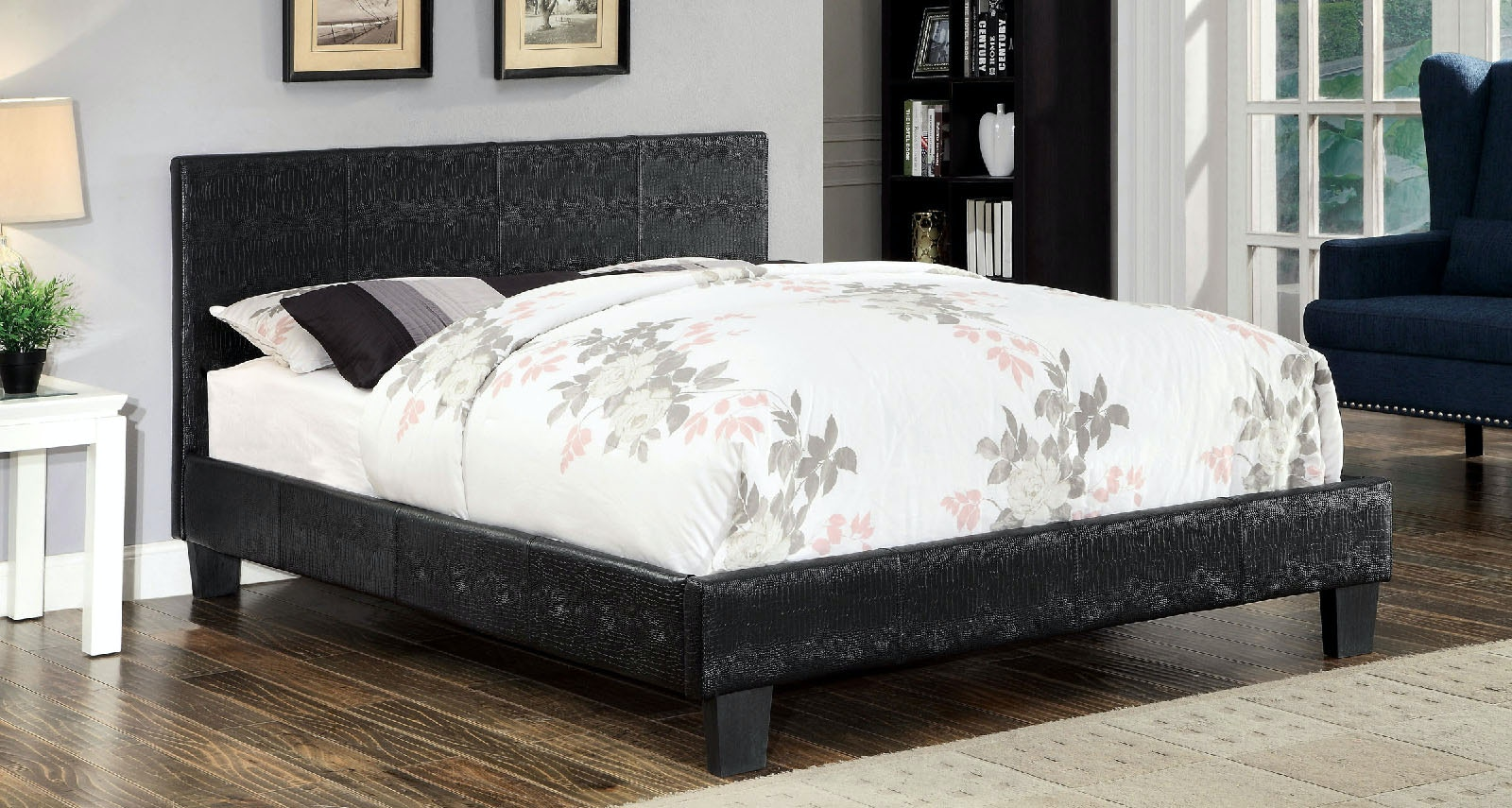 Furniture Of America Bedroom Twin Bed Footboard, Rail, 13 Pc. Slats  CM7793BK T FB/R At The Furniture Mall