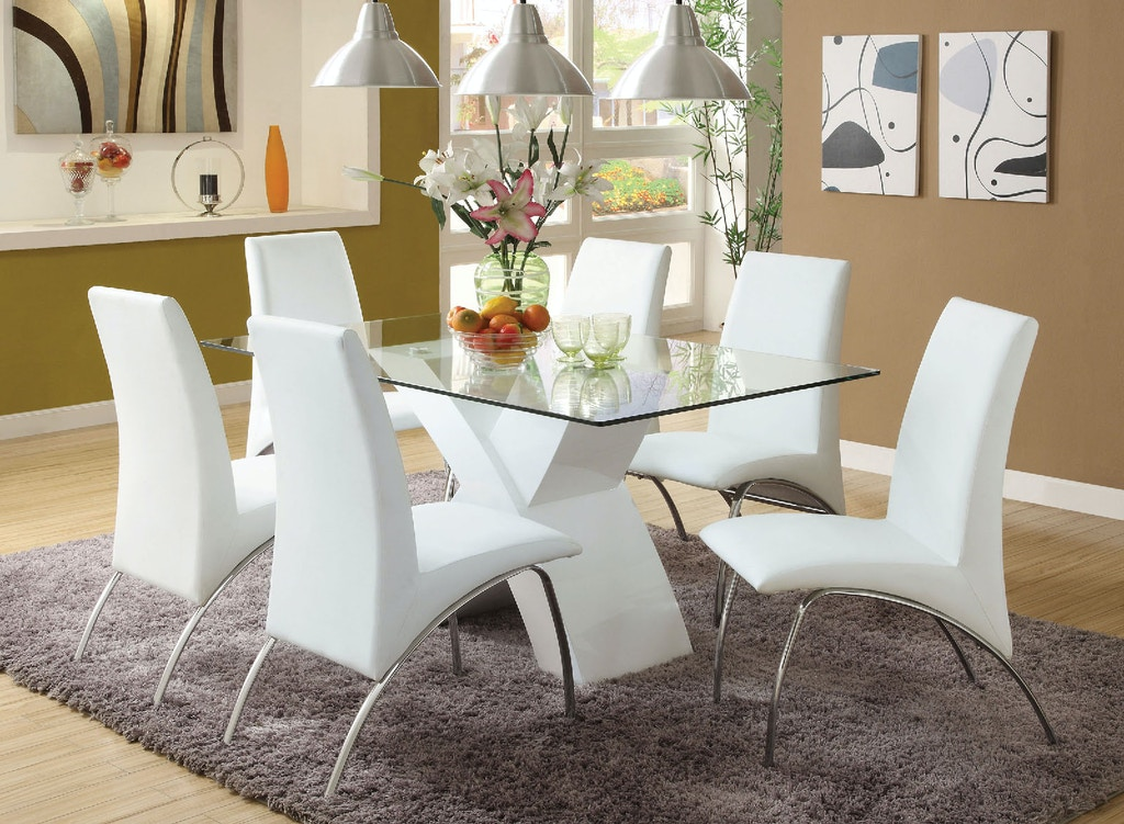 Glass Top Dining Table, White
