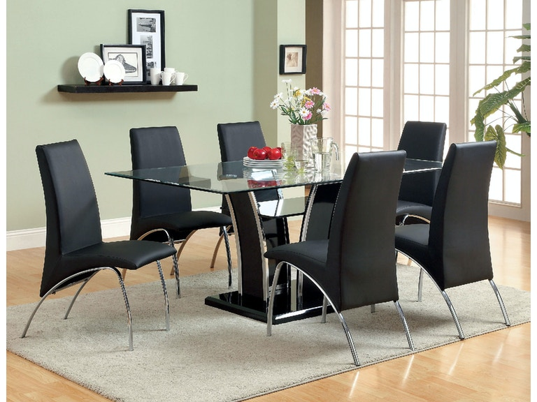 Furniture Of America Dining Room Glass Top Dining Table Black
