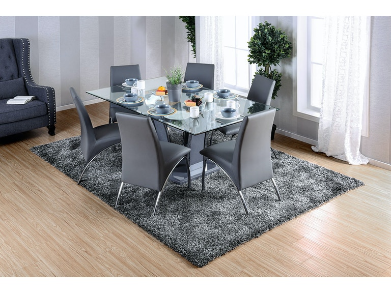 Furniture Of America Dining Room Glass Top Dining Table White