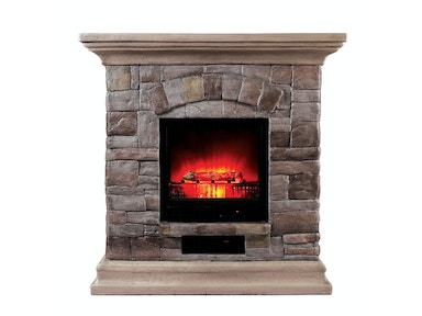 Furniture of America Portable Faux Stone Fireplace L9H134