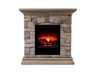 Furniture of America Portable Faux Stone Fireplace L9H134S