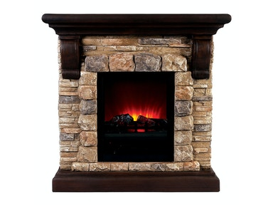 Furniture of America Portable Faux Stone Fireplace L9H135