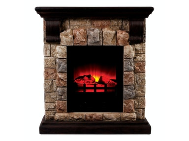 Furniture of America Portable Faux Stone Fireplace L9H135S