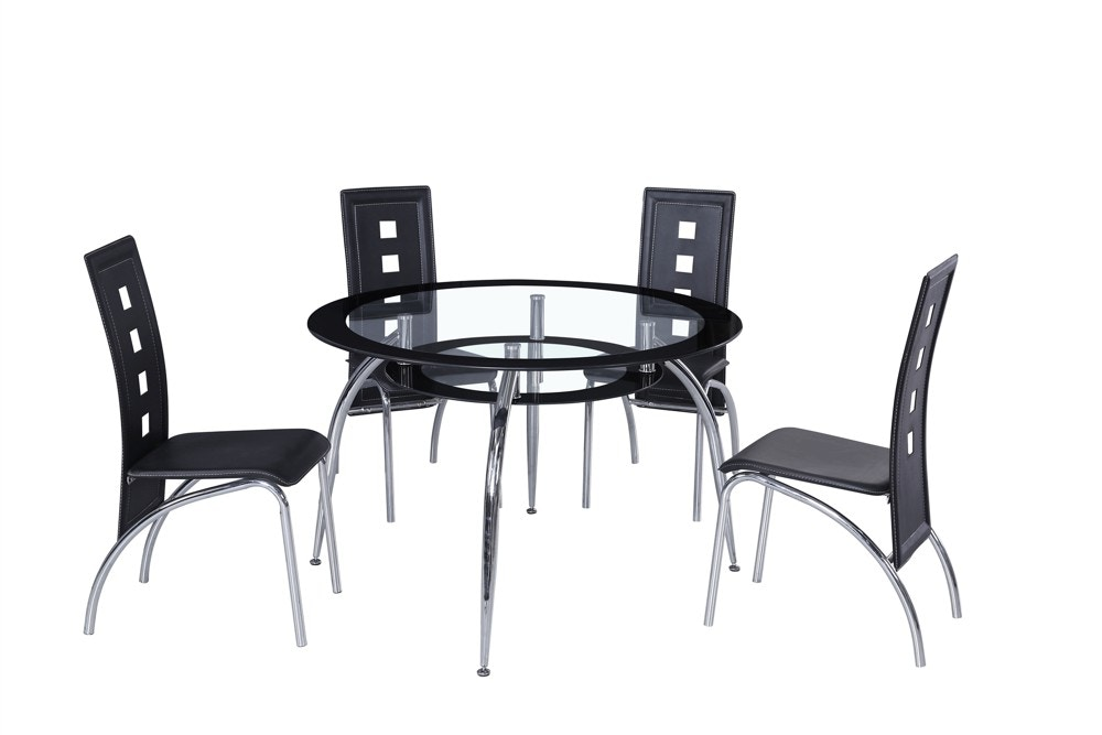 1200. Round Glass Top Table And 4 Chairs.