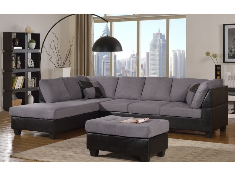 Two-tone grey sectional sofa.