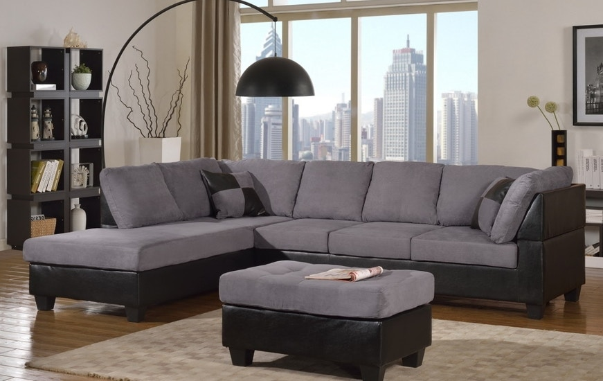 Delightful Master Furniture Two Tone Grey Sectional Sofa. 2321