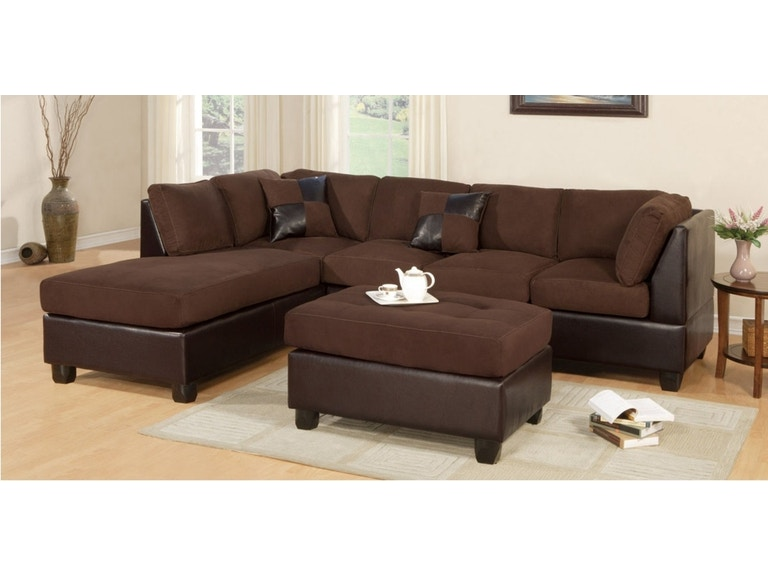 Two-tone chocolate sectional sofa.