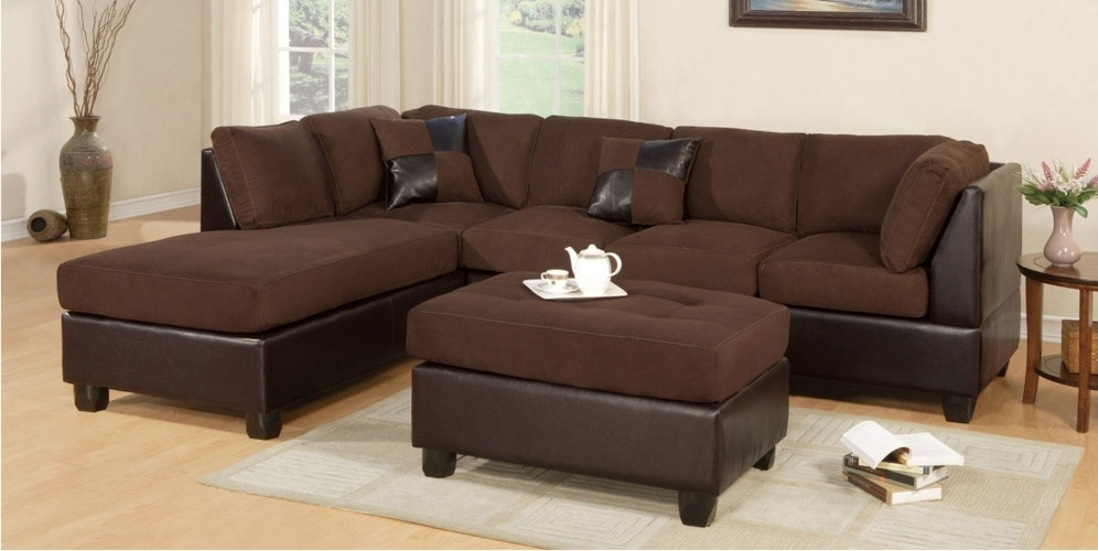 Master Furniture Two Tone Chocolate Sectional Sofa. 2325