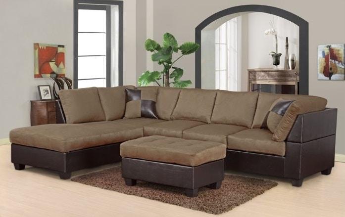 Perfect Master Furniture Two Tone Tan Sectional Sofa 2326
