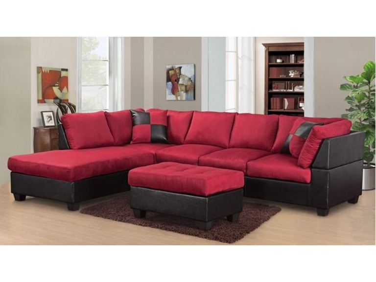 Master Furniture Living Room Two Tone Red Sectional Sofa
