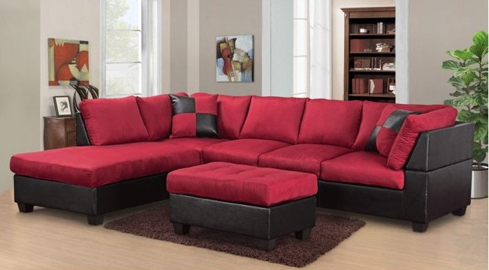 Bon Master Furniture Living Room Two Tone Red Sectional Sofa. 2327 At The  Furniture Mall