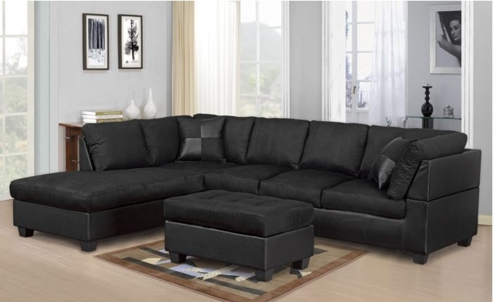 Master Furniture Living Room Black Sectional Sofa. 2328