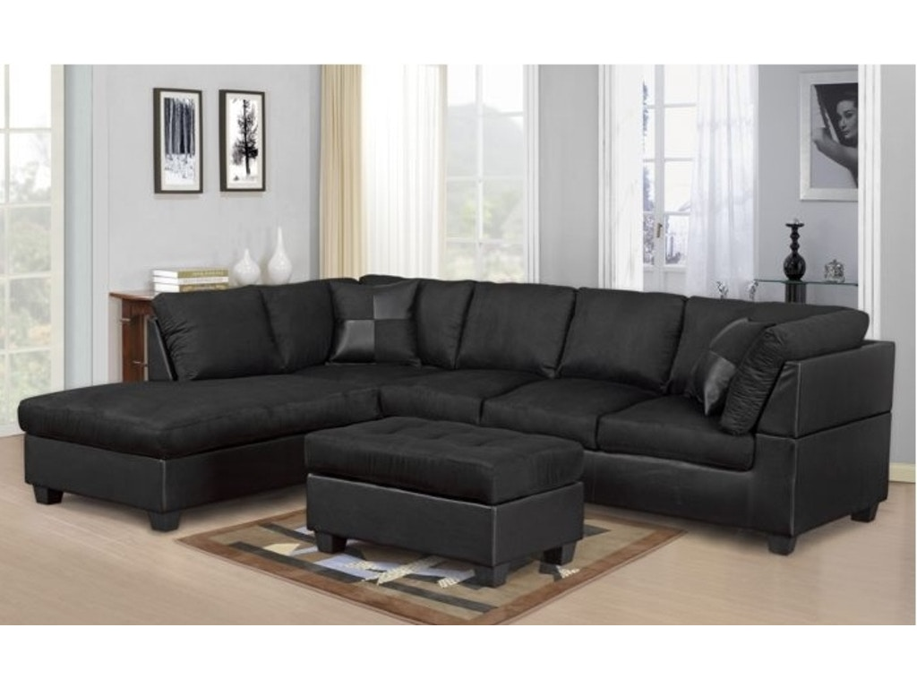 Master Furniture Living Room Black Sectional Sofa 2328