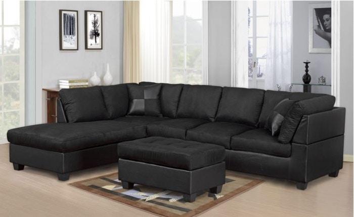 Beau Master Furniture Black Sectional Sofa. 2328