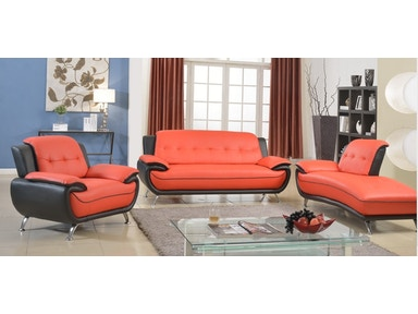 8160 Red And Black 3 Piece Living Room Set