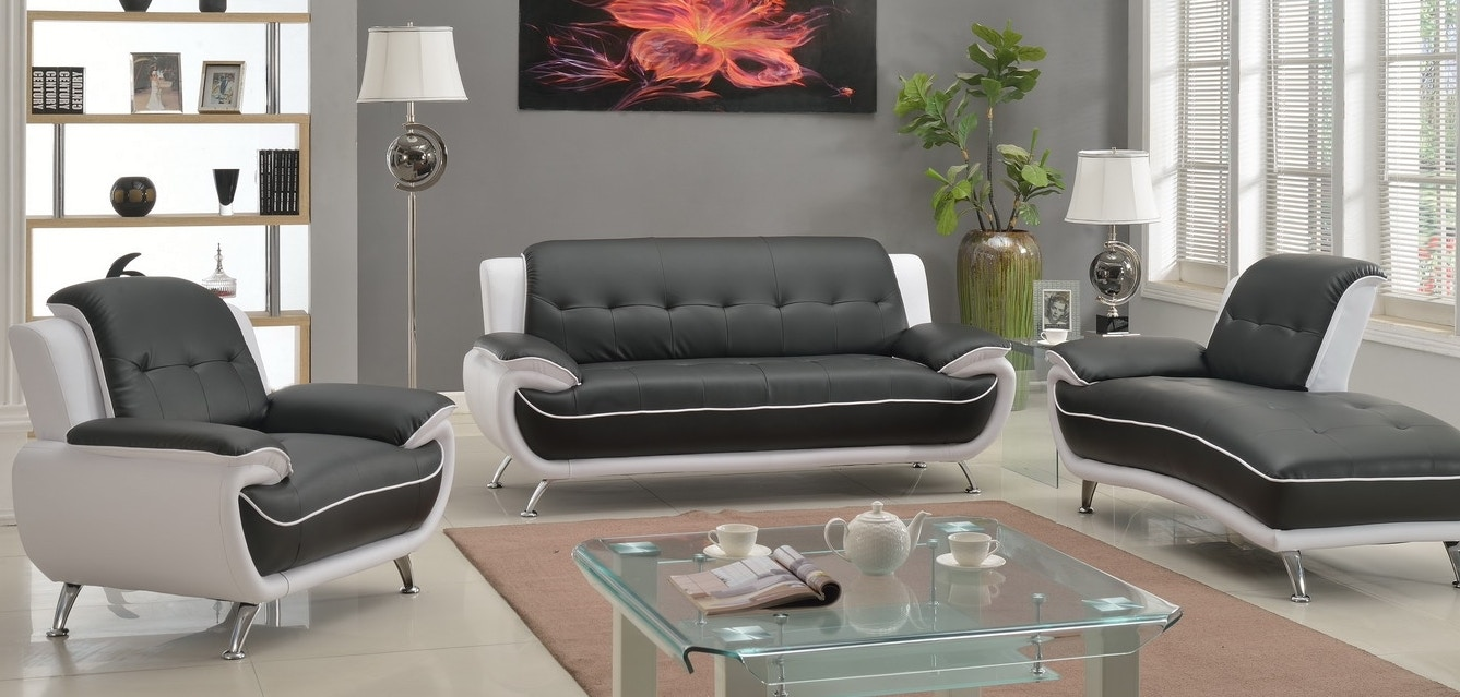 8161. White And Black 3 Piece Living Room Set ...