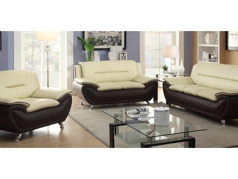 Three piece cream/brown living room set. Chrome legs.