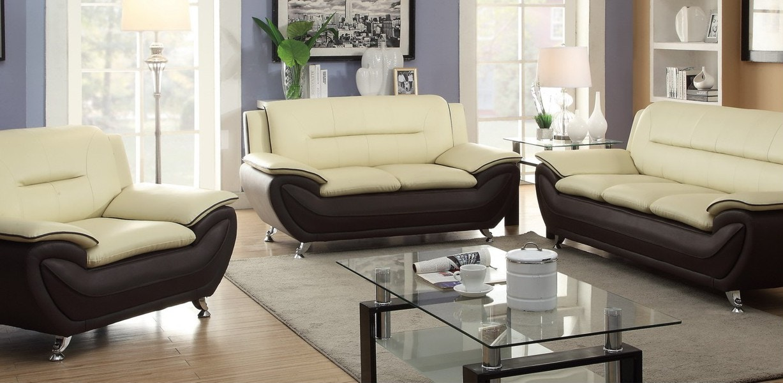 Beautiful Master Furniture Three Piece Cream/brown Living Room Set. Chrome Legs. 858