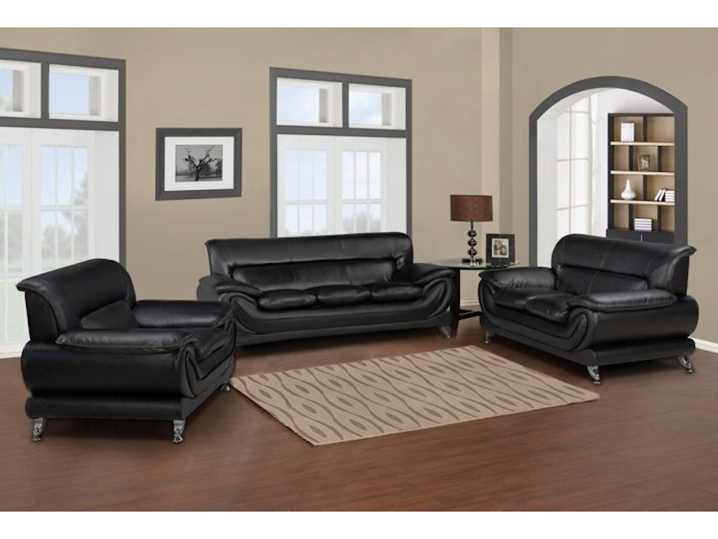 Master Furniture Three Piece Black Living Room Set Chrome Legs 868 The Furniture Mall