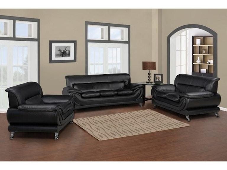 Master Furniture Three Piece Black Living Room Set Chrome