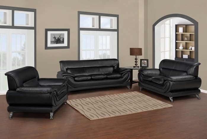 Master Furniture Three Piece Black Living Room Set. Chrome Legs. 868 At The Furniture  Mall