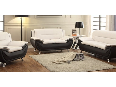 Master Furniture Three piece white/black living room set. Chrome legs. 878