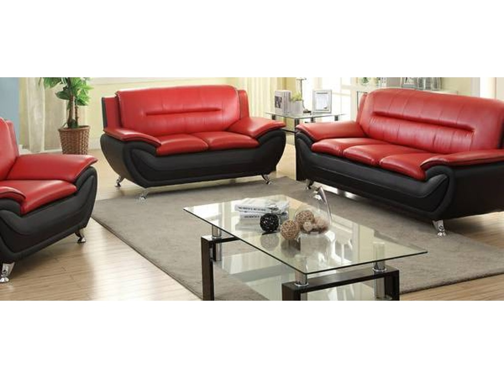Master furniture three piece red black living room set chrome legs 888 the furniture mall - Red and black living room set ...