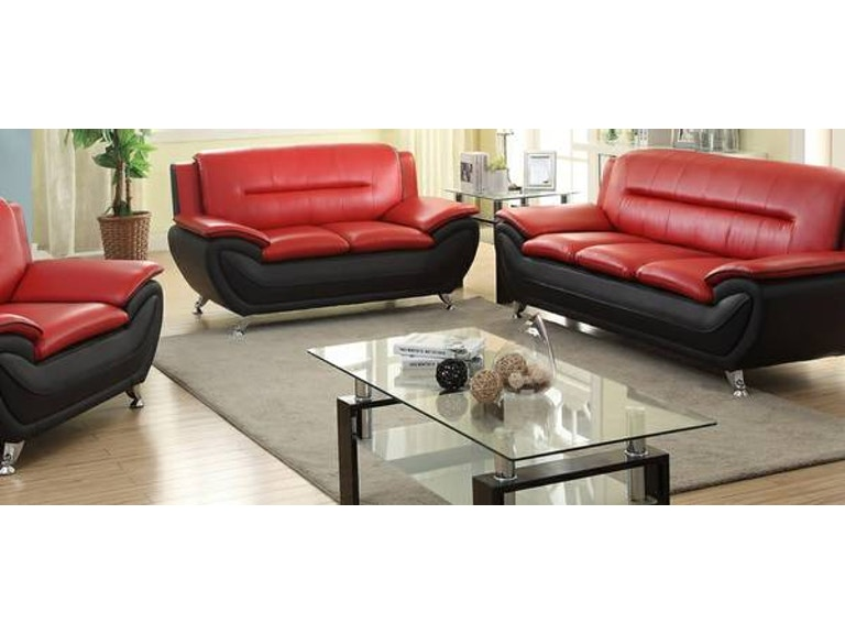 Master Furniture Three Piece Red Black Living Room Set Chrome Legs 888 Th